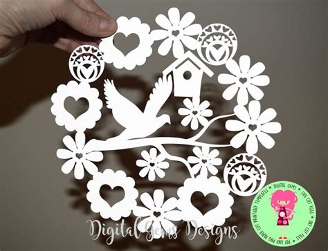 Dove And Flower Paper Cut Svg Dxf Eps Files And A Printable Template For Hand Cutting Silhouette Templates For Paper Cutting