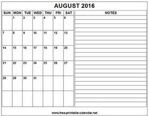 Printable calendar 2016 august free printable calendar