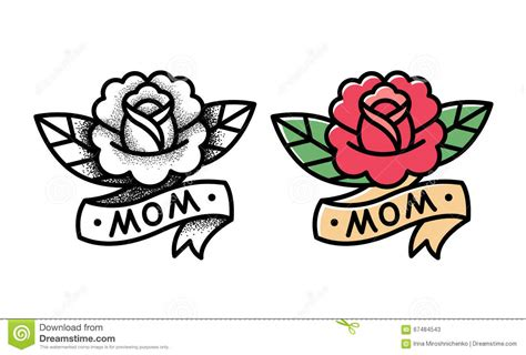 cartoon rose tattoo traditional stock vector image of blackwork