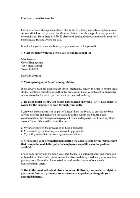 Effective Cover Letters by Effective Cover Letter Format Best Template Collection