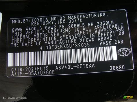 2011 toyota camry se color code photos gtcarlot