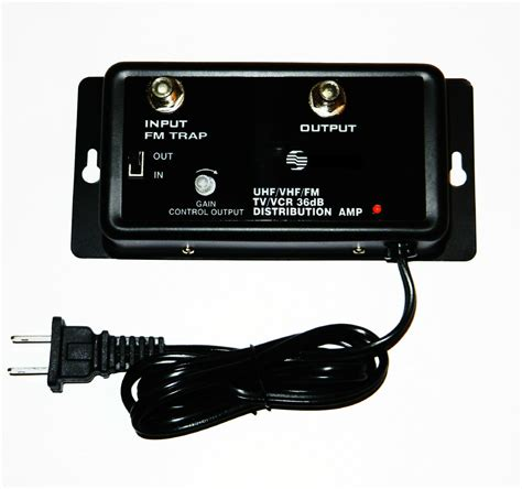 cable tv antenna signal lifier booster 36db hdtv uhf vhf fm 5 1000 mhz 1 4 w ebay