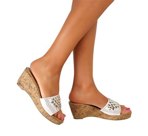 Sneakers Brukat High Heels Murah Wedges Sandal Slip On Flat Sepatu platform wedge block high heels peep toe sandals slip on shoes size uk ebay