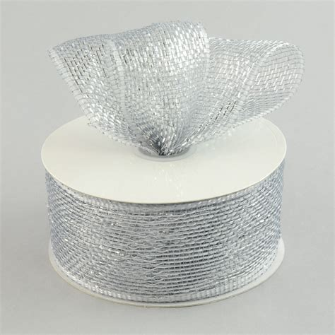 silver mesh christmas ribbon 2 5 quot poly mesh ribbon metallic silver rs200426 mardigrasoutlet