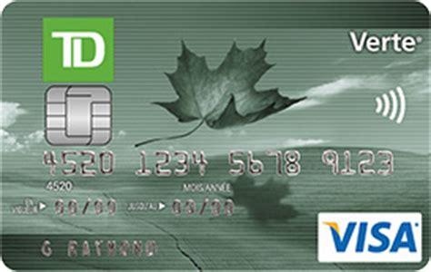 Sle Credit Card Number Canada Td Canada Trust Carte Visa Td Verte