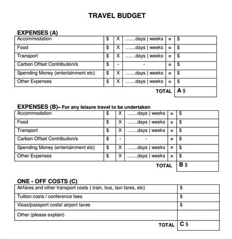 Business trip expense report template un mission resume and sample travel budget template 6 free documents download flashek Image collections