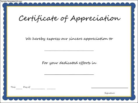 certificate of appreciation template certificate of appreciation template sle templates