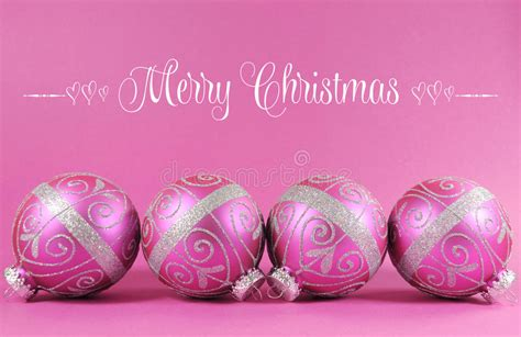 beautiful fuchsia pink festive bauble ornaments  sample text stock photo image  love
