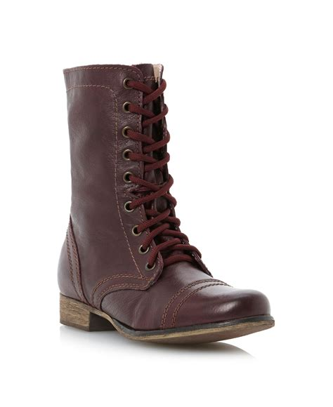 Steve Madden Boots by Steve Madden Troopa Sm Lace Up Calf Boots In Brown Lyst