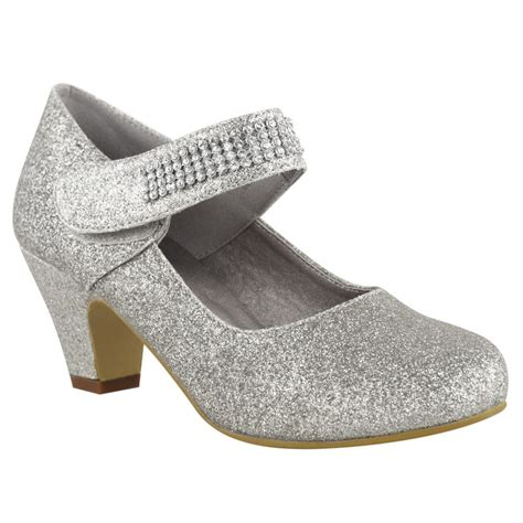 silver kid shoes childrens wedding diamante low mid heel