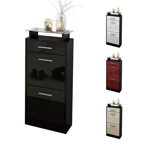 shoe storage rack cabinet loret v2 in black high gloss