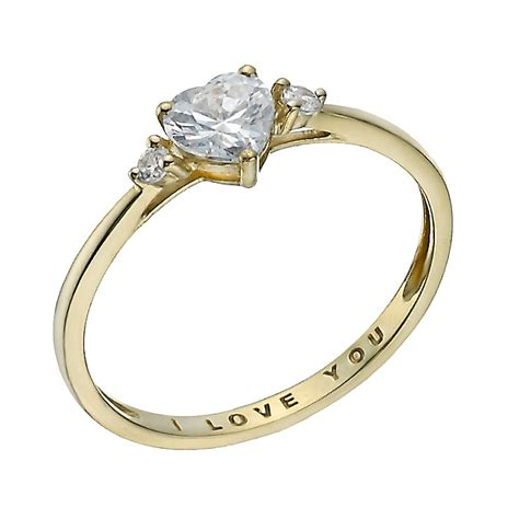 I You Ring Images by 9ct Gold Cubic Zirconia I You Ring H Samuel