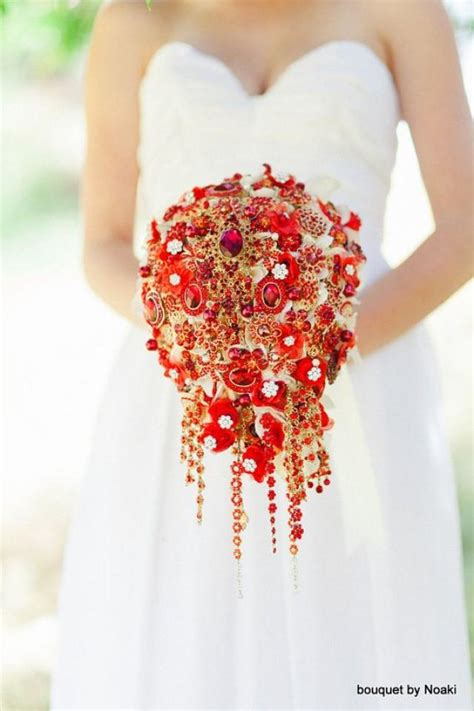 Order Bridal Bouquet by Deposit On Cascading And Gold Brooch Bouquet Made