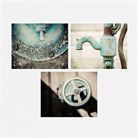 Teal bathroom decor set of 3 rustic fine art photographs water pump