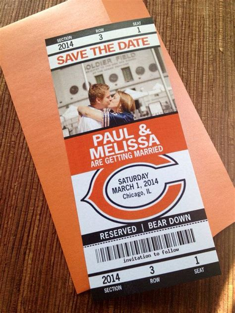 chicago bears wedding invitations sport ticket wedding save the date or invitation football baseball hockey soccer