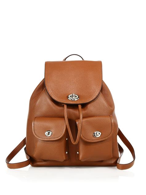 S Leather Backpack Brown coach leather turnlock backpack in brown lyst