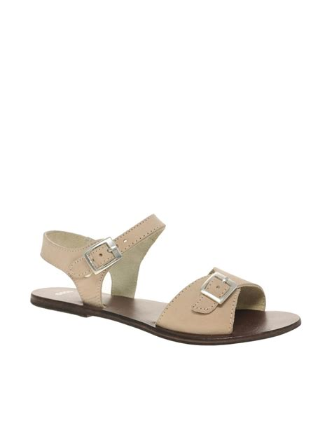 flat buckle sandals asos asos flutter leather flat sandals with buckle at asos