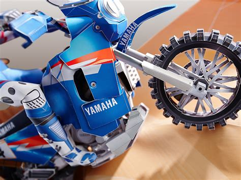 Papercraft Bike - get ready for the dakar rally with new yamaha paper crafts