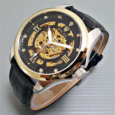 jual jam tangan pria cowok rolex skelaton kulit