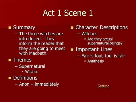 Themes Of Macbeth Act 1 Scene 1 | william shakespeare s macbeth ppt video online download