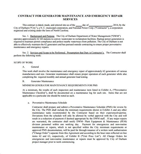 14 Maintenance Contract Templates To Download For Free Sle Templates Repair Contract Template