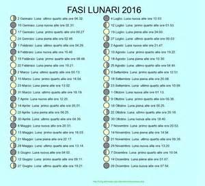 Calendario Lunare Fasi Lunari 2016 Calendario Lunare