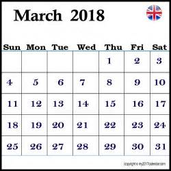 Calendar 2018 March Uk Printable Calendar March 2018 Uk Printable Monthly Calendars