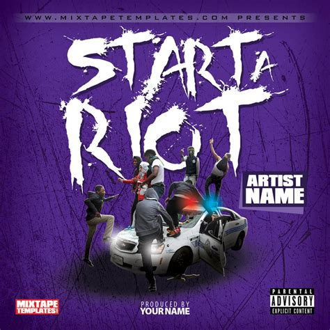 mixtape design templates start a riot mixtape cover template by