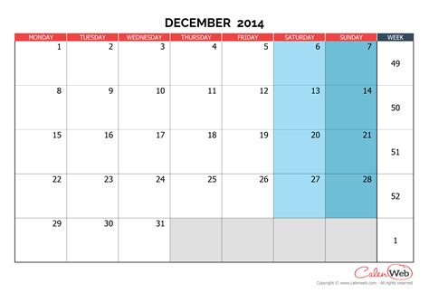 2014 Calendar December Monthly Calendar Month Of December 2014 The Week Starts