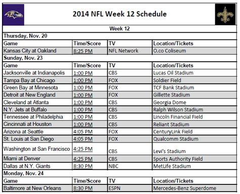 nfl printable schedule 2014 by week printable 2014 nfl week 12 schedule