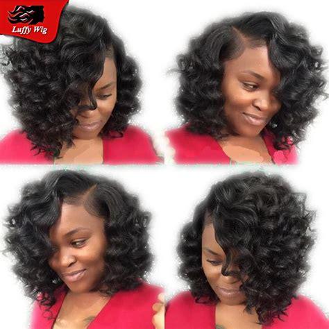 body wave black short hairstyles bob deep curl brazilian virgin human hair wigs for black