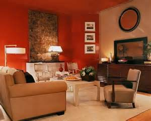 Traditional living room with red walls