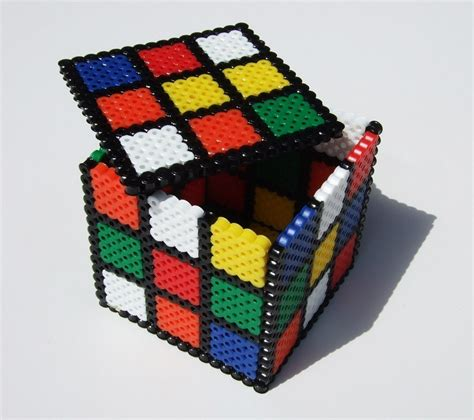 cool melty bead designs keepsake box rubix cube perler bead box retro 80s rainbow