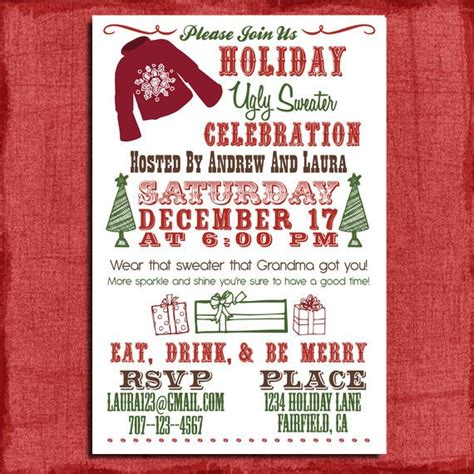 Holiday Christmas Ugly Sweater Party Invitation 4x6 Sweater Invitation Templates Free