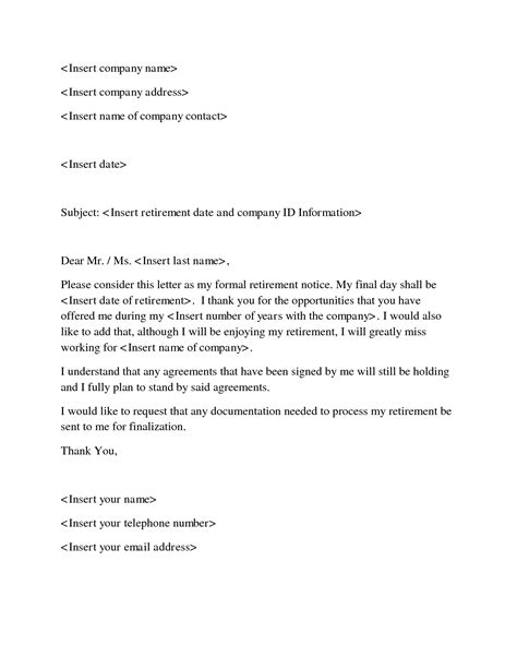 template for retirement letter doc 12751650 retirement letter sle employee