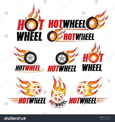 Hot Wheel Racing Flat Labels Set Stock Vector 362390063