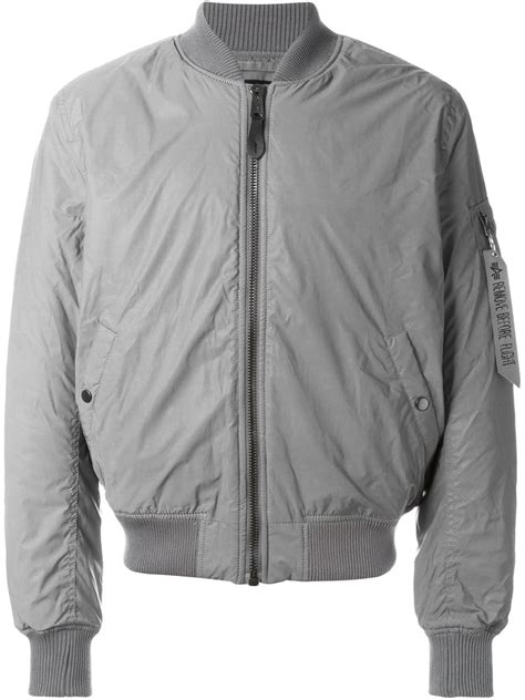 Jaket Grey lyst alpha industries zipped bomber jacket in gray for