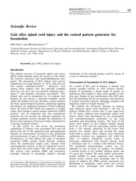 central pattern generator gait pinter m m dimitrijevic m r gait pdf download