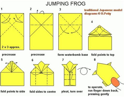 Easy Jumping Frog Origami - hopping origami frog search esl
