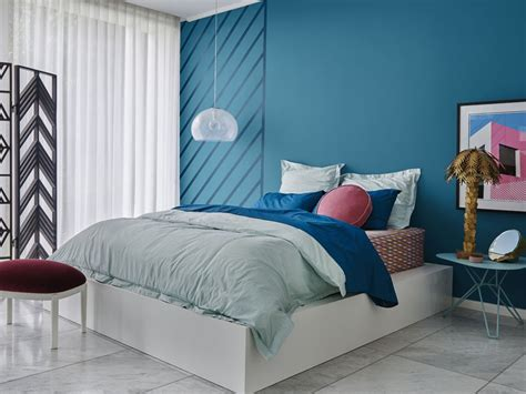 type of paint for bedroom wall dulux 2018 colour forecast escapade bedroom with blue feature wall inspirations paint