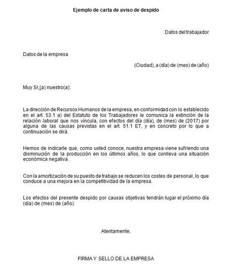 ejemplo carta de despido laboral ejemplo de carta de aviso de despido modelo de carta de