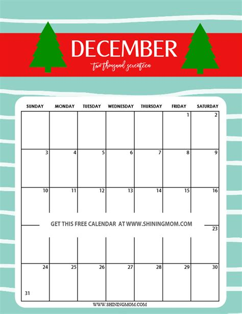 printable december 2017 calendar free fun and cute 2017 calendar printable