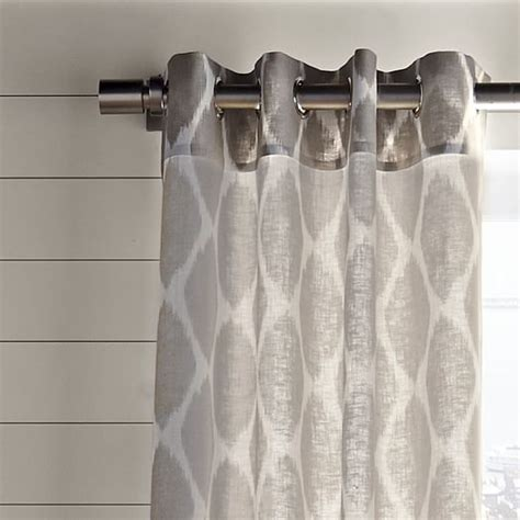 Ikat Ogee Curtains Ikat Ogee Linen Curtain Ivory Platinum West Elm
