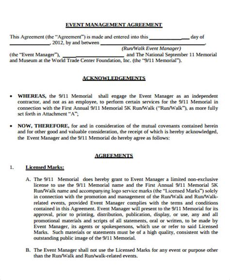 Event Management Agreement Template by Event Management Agreement Template Emsec Info
