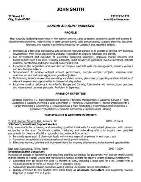 Business Account Manager Sle Resume by Senior Account Manager Resume Template Premium Resume Sles Exle