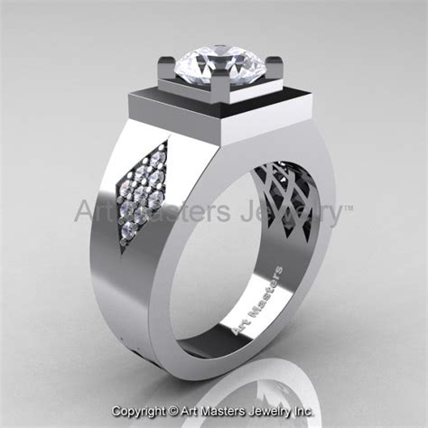 mens modern classic 14k white gold 2 0 ct russian cubic
