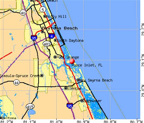 map of ponce inlet florida ponce inlet florida fl 32127 profile population maps