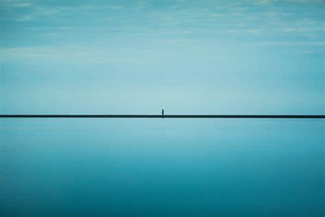 men  sea horizon blue sky infinity hd wallpaper