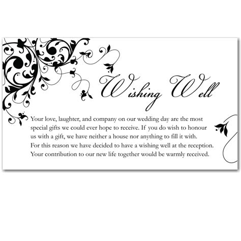 Wishing Well Cards Free Templates by Budget Wedding Invitations Wishing Well Cards Black
