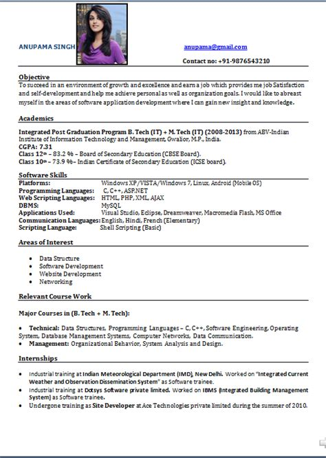 simple resume format freshers free simple resume template